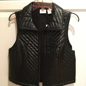 Chico's Quilted Faux Leather Cropped Vest